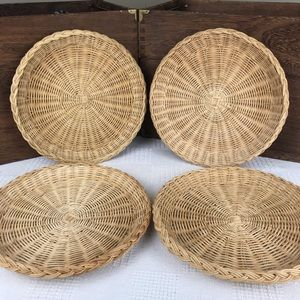 """4 10"""" Wicker Trivets Large Wall Hanging Plant Dish"""